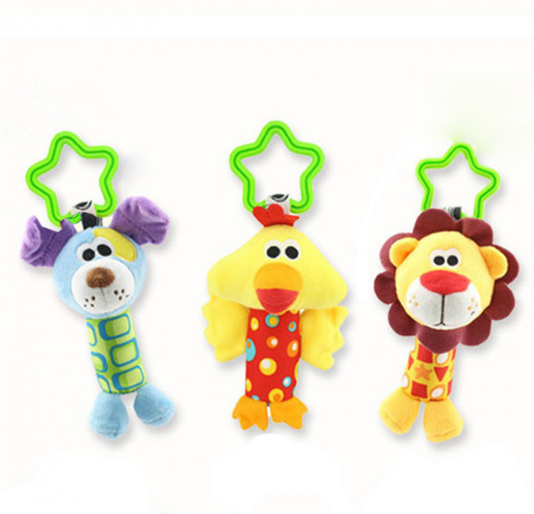 Plush Animal Rattle with Stroller Clip