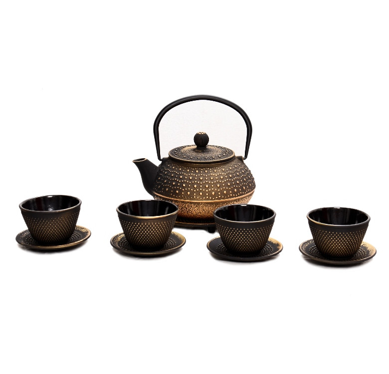 Gold Cast Iron Teapot Set