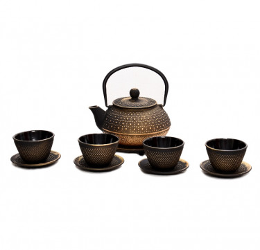 Gold Cast Iron Teapot Set
