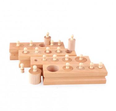 Montessori Wooden Cylinder Socket Blocks