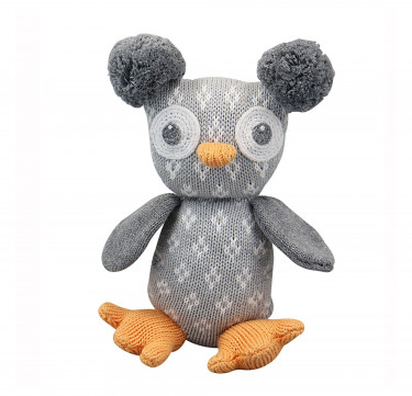 Speckles the Owl Hand-knit Cotton Doll