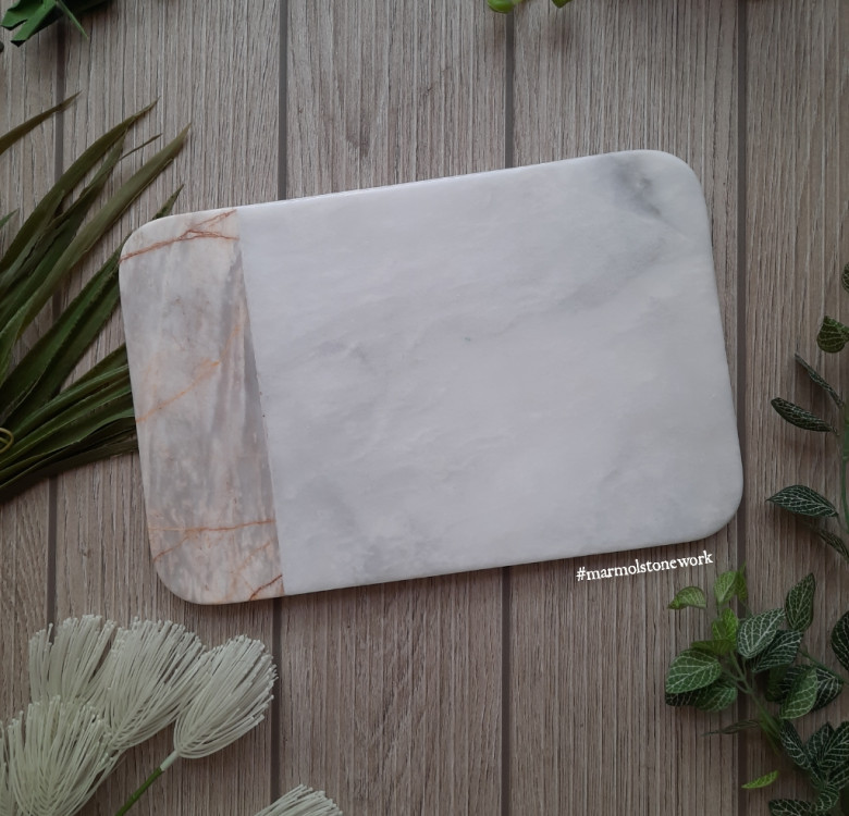 Two Toned Curved Rectangular Marble Cheeseboard