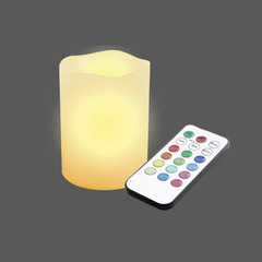 Led multicolour melt edge pillar wax remote control web
