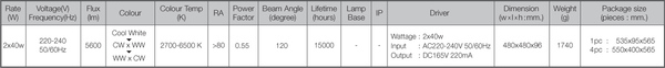 Led ms cl rose 2x40w spec