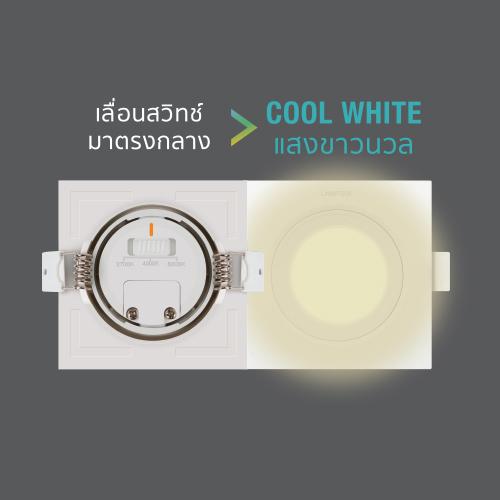 Led spotlight colour choice square 7w back cw web