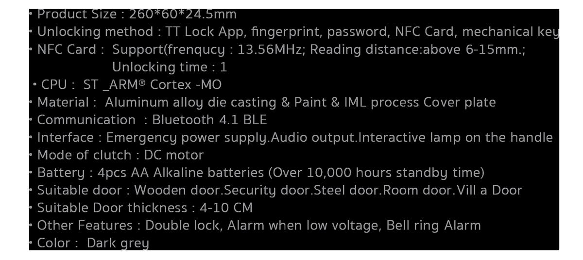 Smart bt door lock b1 spec