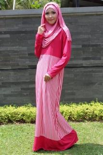 Dress Muslimah Strip Down Pink
