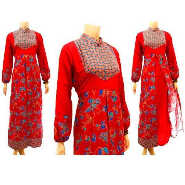 Baju Dan Busana Muslim Wanita Gamis Batik Merah