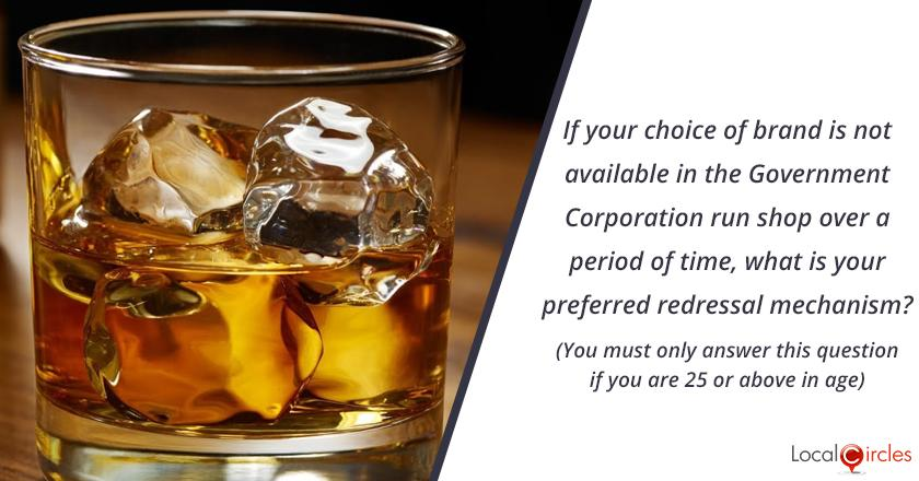 Bringing Transparency in Liquor Industry in Delhi: If your choice of brand is not available in the Government Corporation run shop over a period of time, what is your preferred redressal mechanism? (You must only answer this question if you are 25 or above in age)