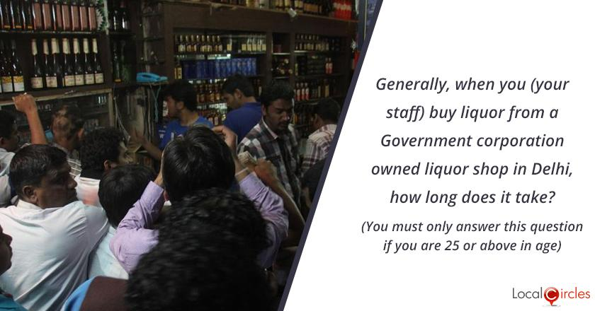 Bringing Transparency in Liquor Industry in Delhi: Generally, when you (your staff) buy liquor from a Government corporation owned liquor shop in Delhi, how long does it take? (You must only answer this question if you are 25 or above 25 in age)