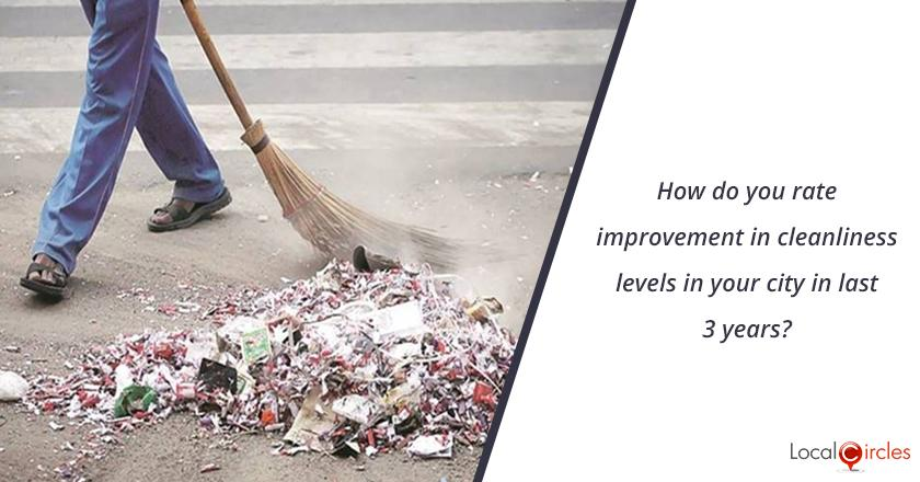 3 years of Uttar Pradesh Government: How do you rate improvement in cleanliness levels in your city in last 3 years?