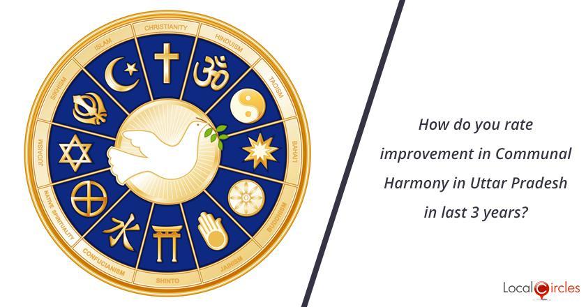 3 years of Uttar Pradesh Government: How do you rate improvement in Communal Harmony in Uttar Pradesh in last 3 years?