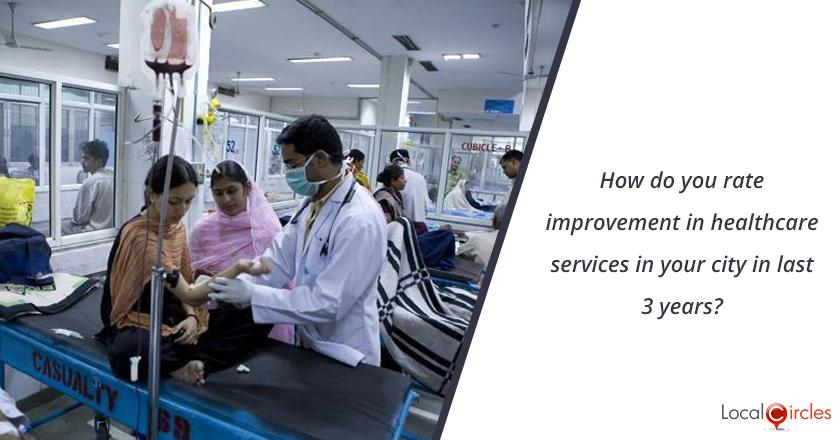 3 years of Uttar Pradesh Government: How do you rate improvement in healthcare services in your city in last 3 years? <br/> <br/>Kindly consider key parameters as availability, affordability and quality.