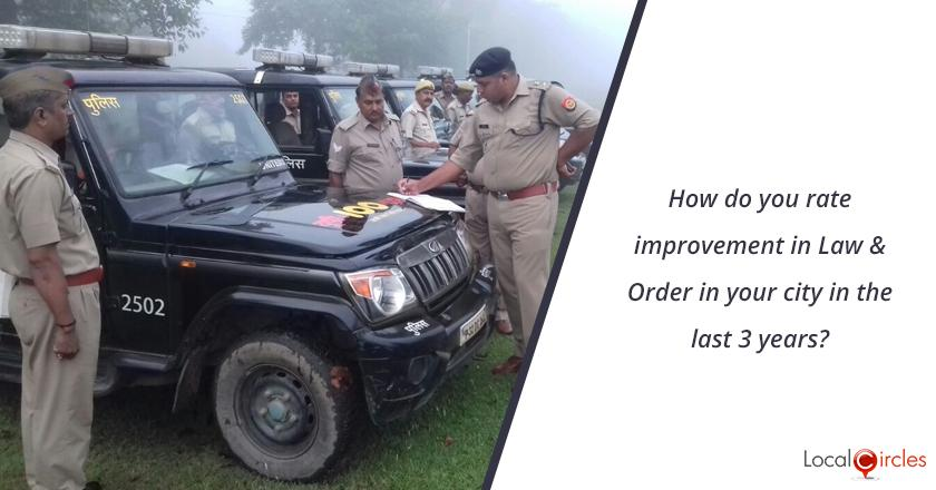 3 years of Uttar Pradesh Government: How do you rate improvement in Law & Order in your city in the last 3 years? <br/> <br/>Kindly consider key parameters as crime, accessibility of police, overall safety.