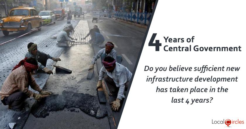 Evaluating 4 years of Central Government: Do you believe sufficient new infrastructure development (roads, power, irrigation, broadband, etc) has taken place in the last 4 years?