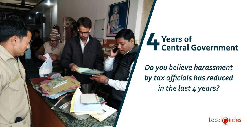 Evaluating 4 years of Central Government: Do you feel harassment by tax officials has reduced in the last 4 years?