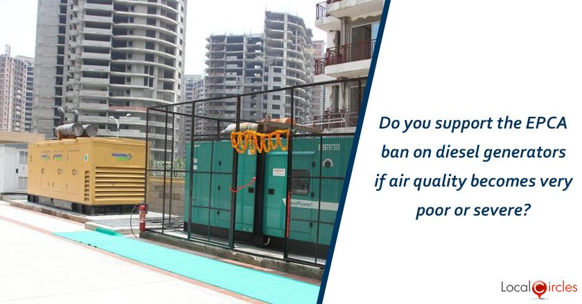 Do you support the EPCA ban on diesel generators if air quality becomes very poor or severe?