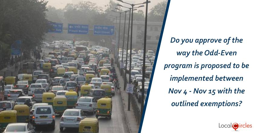 Do you approve of the way the Odd-Even program is proposed to be implemented between Nov 4 - Nov 15 with outlined exemptions?