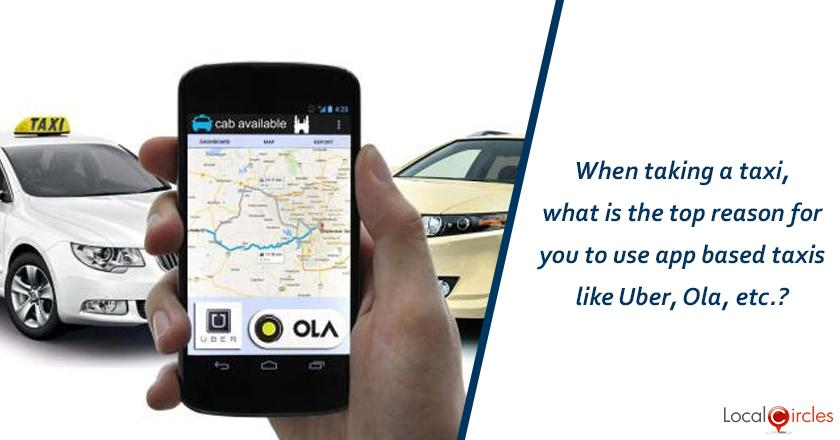 When taking a taxi, what is the top reason for you to use app based taxis like Uber, Ola, etc.?