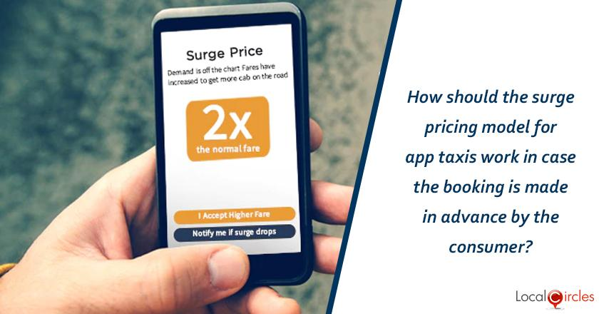 How should the surge pricing model for app taxis work in case the booking is made in advance by the consumer?