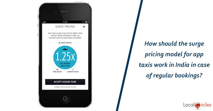 How should the surge pricing model for app taxis work in India in case of regular bookings?