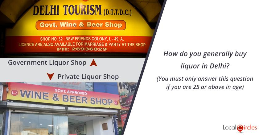 Bringing transparency in liquor industry in Delhi: How do you generally buy liquor in Delhi? (You must only answer this question if you are 25 or above in age)