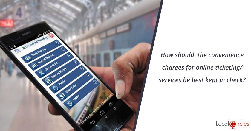 How should the convenience charges for online ticketing/services purchases be best kept in check?