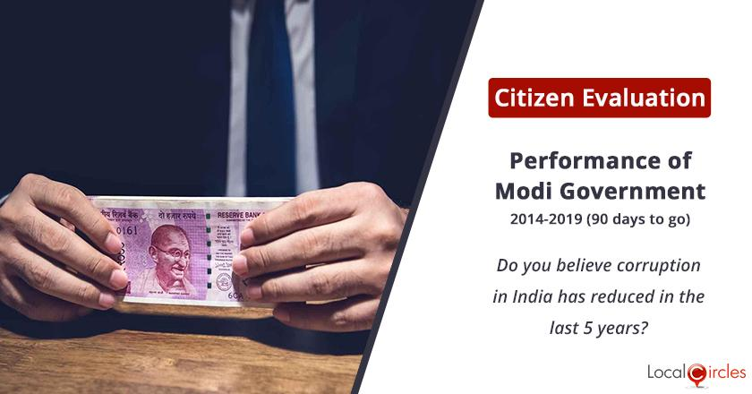 Citizen Evaluation of Modi Government Performance: Do you believe corruption in India has reduced in the last 5 years?