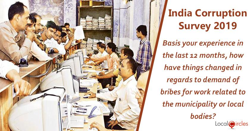 Indian Corruption Survey 2019: Basis your experience in the last 12 months, how have things changed in regards to demand of bribes for work related to the municipality or local bodies?