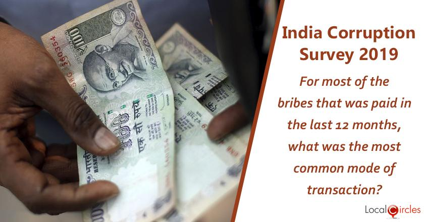 India Corruption Survey 2019: For the bribes, you or your business paid in the last 12 months, what was the most common mode of transaction?