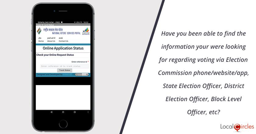 Have you been able to find the information you were looking for regarding voting via Election Commission phone/website/app, State Election Officer, District Election Officer, Block Level Officer, etc?