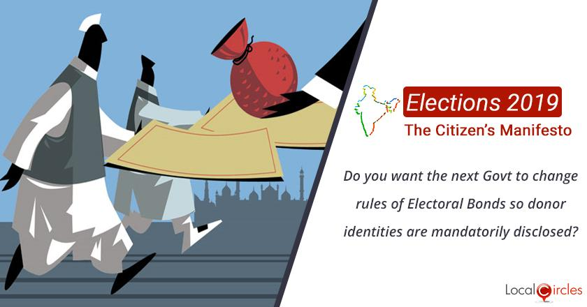 Citizen Oriented Manifesto 2019: Do you want the next Government to change rules of Electoral Bonds so donor identities are mandatorily disclosed?