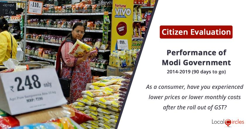 Monthly costs post GST under Modi Government: As a consumer, have you experienced lower prices or lower monthly costs after the roll out of GST?