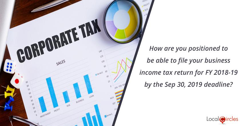 How are you positioned to be able to file your business income tax return for FY 2018-19 by the Sep 30, 2019 deadline?