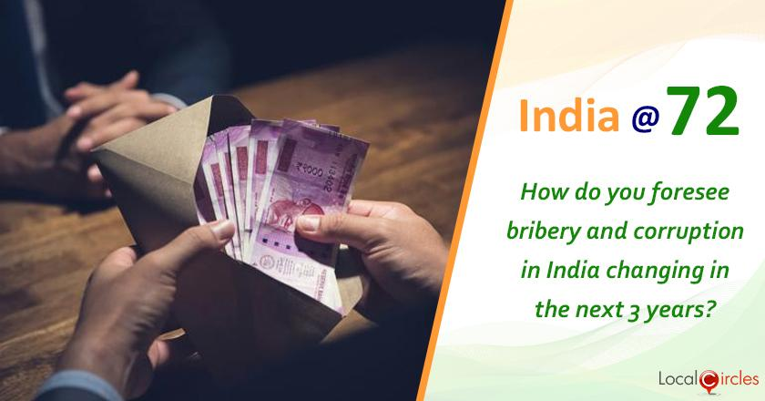 India @ 72: How do you foresee bribery and corruption situation in India changing in the next 3 years?