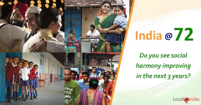 India @ 72: How do you see India's social stability (ability of citizens of different caste and religion to live with each other in harmony and peace) changing in the next 3 years?
