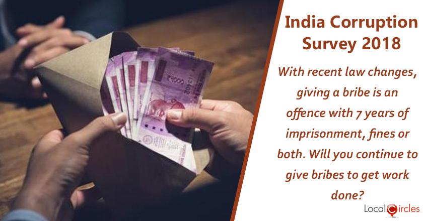 India Corruption Survey 2018: India's recent amendment to anti corruption law makes giving bribe a specific and direct offence and those giving bribes would be subject to 7 years of imprisonment, fines or both. <br/> <br/>Knowing this, will you continue to give bribes to get your work done?