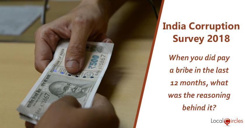 India Corruption Survey 2018: When you did pay a bribe in the last 12 months, what was the reasoning behind it?