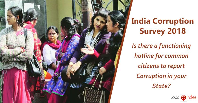 India Corruption Survey 2018: Is there a functioning hotline in your state/city for common citizens to report bribery and corruption?