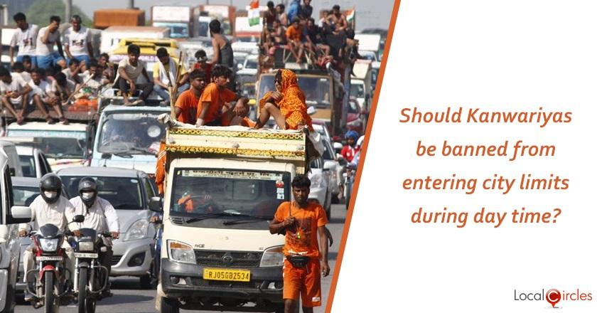 Should Kanwariya processions be banned from entering city limits during day time?