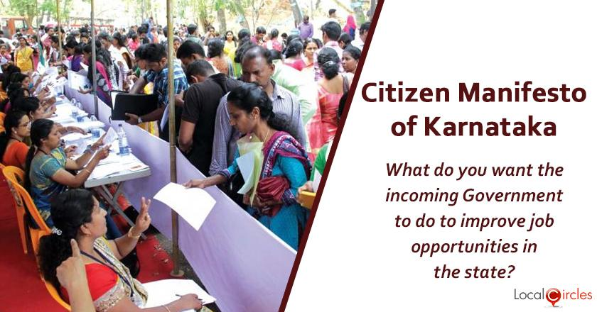 Citizen Manifesto of Karnataka: What do you think should be the top priority of the incoming State Government in the area of jobs creation?
