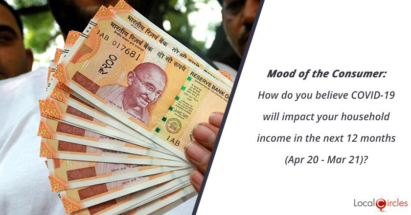 Mood of the Consumer: How do you believe COVID-19 will impact your household income in the next 12 months (Apr 20 - Mar 21)?