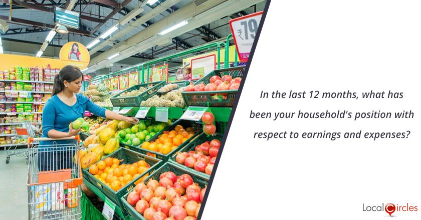 Mood of the Consumer: In the last 12 months, what has been your household's position with respect to earnings and expenses?