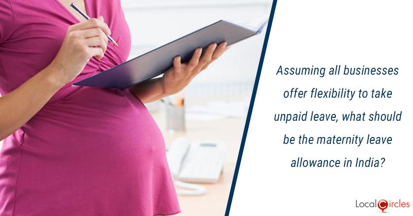 Assuming all businesses offer flexibility to take unpaid leave, what should be the maternity leave allowance in India?