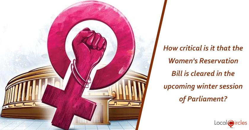 How critical is it that the Women's Reservation Bill is cleared in the upcoming winter session of Parliament? <br/> <br/>P.S. The above bill reserves 33% of all seats in the Lok Sabha and state legislative assemblies for women.