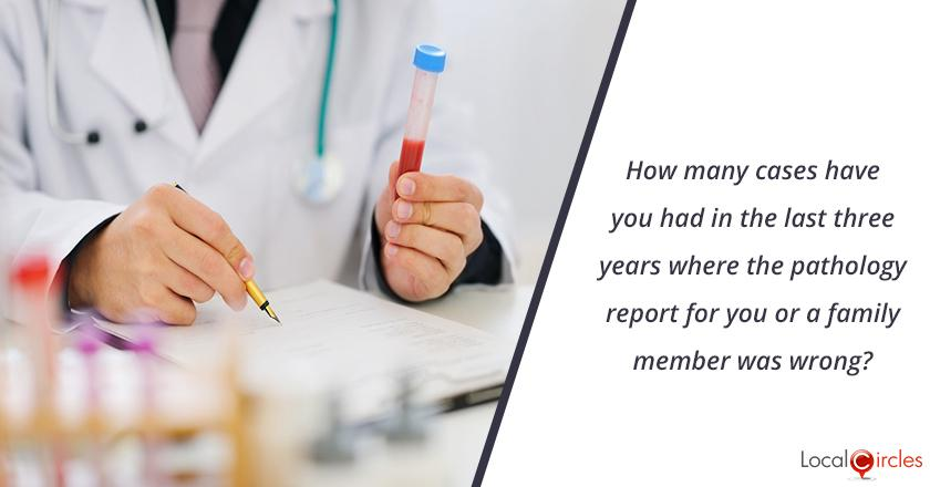 Trust in Pathology Labs: How many cases have you had in the last three years where the pathology report for you or a family member was wrong?