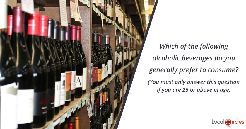 Bringing transparency in liquor industry in Delhi: Which of the following alcoholic beverages do you generally prefer to consume? (You must only answer this question if you are 25 or above in age)