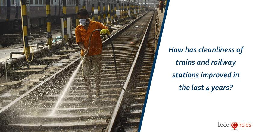 How has cleanliness of trains and railway stations improved in the last 12 months?