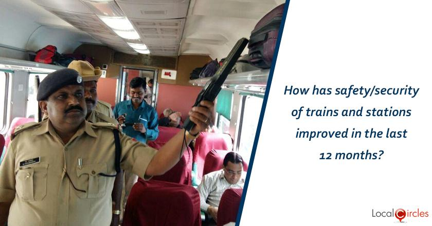How has safety/security of trains and stations improved in the last 12 months?