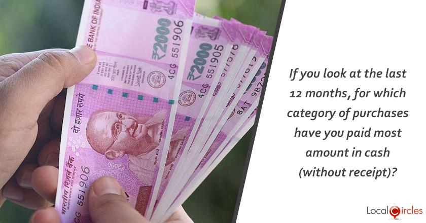 Reducing Black Money: If you look at the last 12 months, for which category of purchase have you paid most amount in cash (without receipt)?